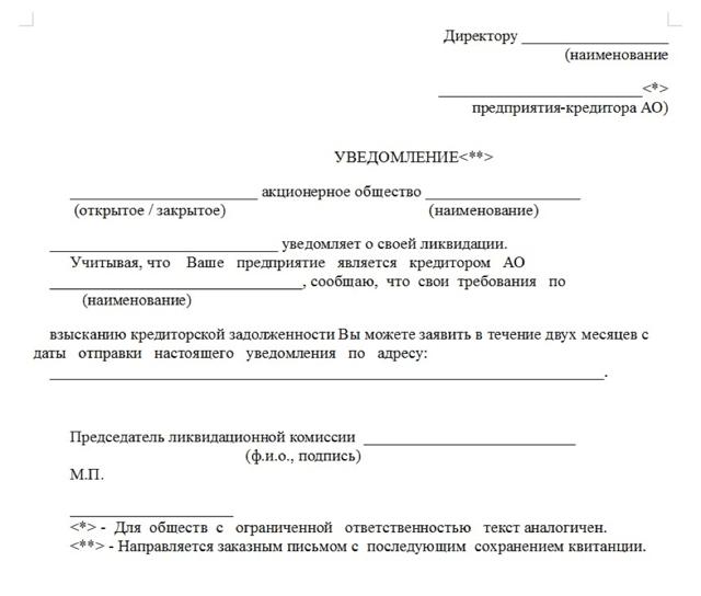 Уведомление кредиторов о ликвидации юридического лица: образец документа, правила подготовки и передачи письма