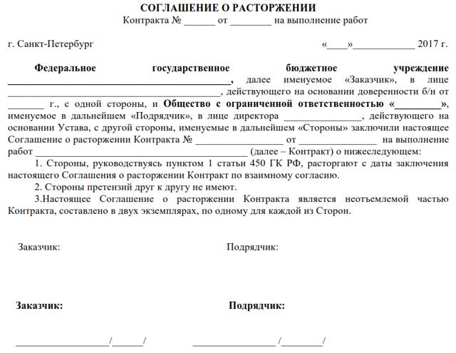 Расторжение контракта по 44-ФЗ по соглашению сторон: порядок действий, сроки размещения информации в ЕИС, образец документа