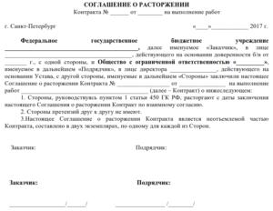 Расторжение контракта по 223-ФЗ по соглашению сторон в одностороннем порядке: образец уведомления